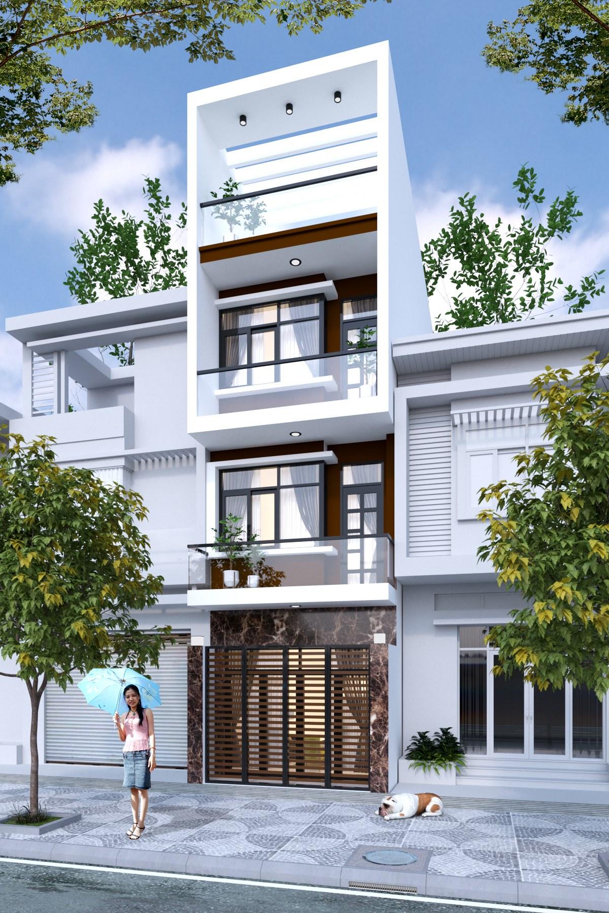 Mẫu nhà 3 tầng 1 tum thiết kế hiện đại cùng