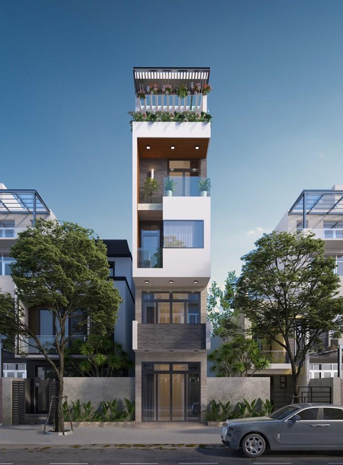 Mẫu nhà 5 tầng mặt phố thiết kế vô cùng hiện đại