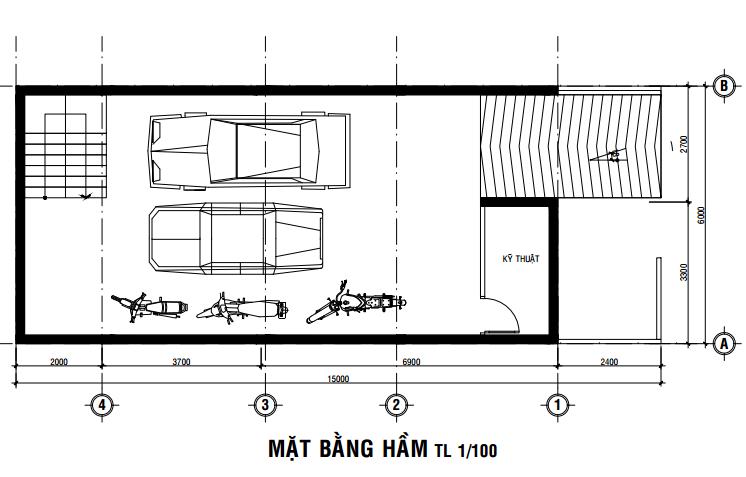 Bản vẽ bố trí mặt bằng gara xe nhà 4 tầng